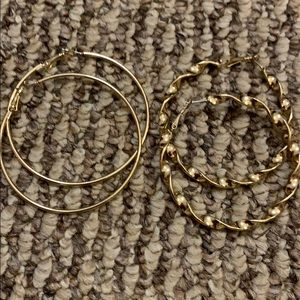 Gold earrings perfect condition not heavy hoops